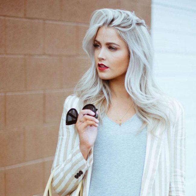 Silver hair tan skin