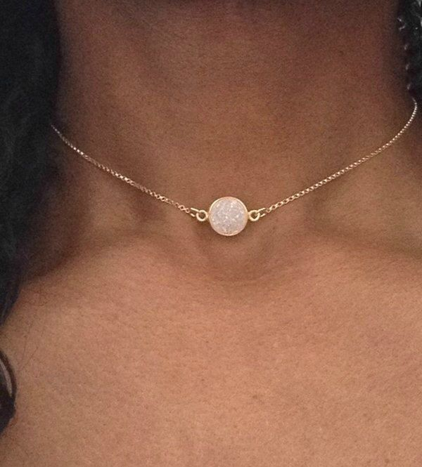 Luxury Jewelry 2017 2018 Gold Choker Necklace Gold Druzy