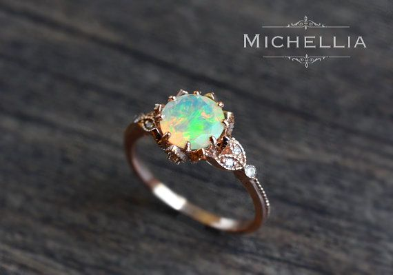 Luxury Jewelry 2017 2018 Vintage Opal Floral Engagement Ring
