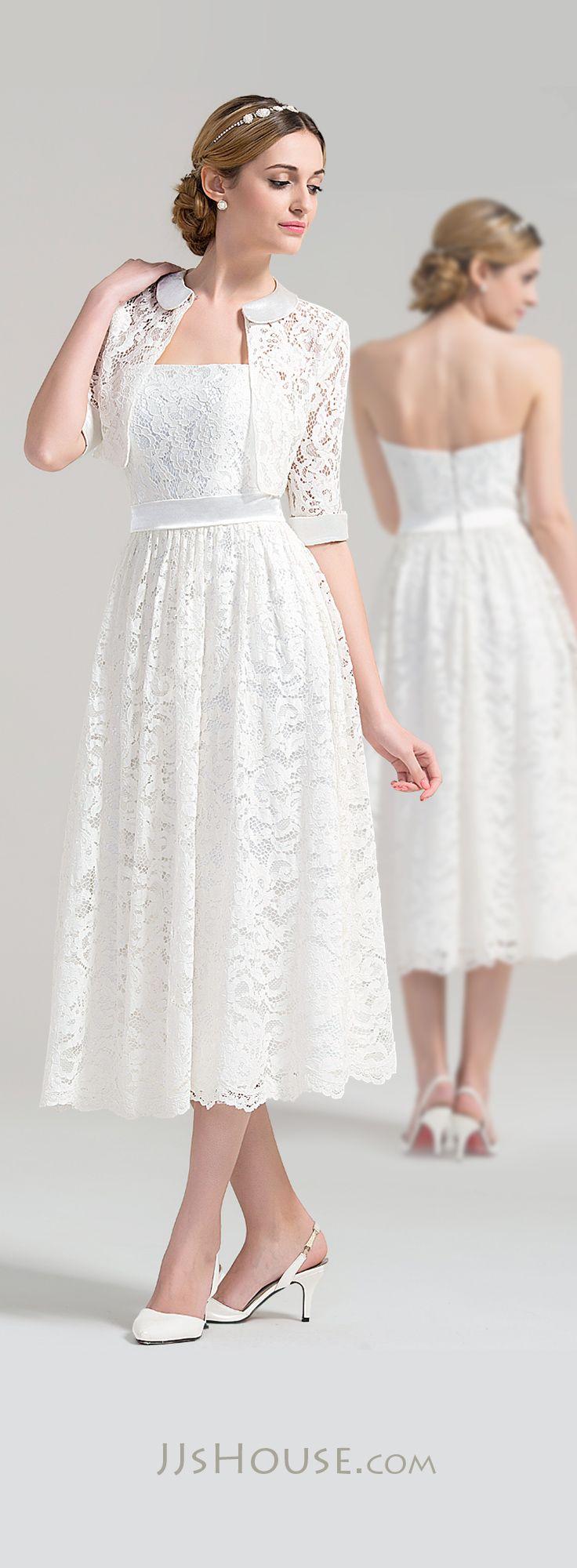 Short wedding dresses a line princess strapless tea for Wedding dresses short length