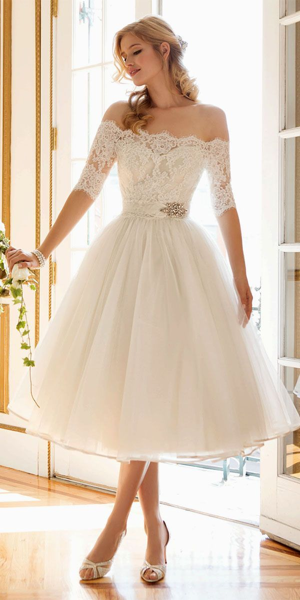 Short wedding dresses tea length wedding gowns 1 for Shoes for tea length wedding dress