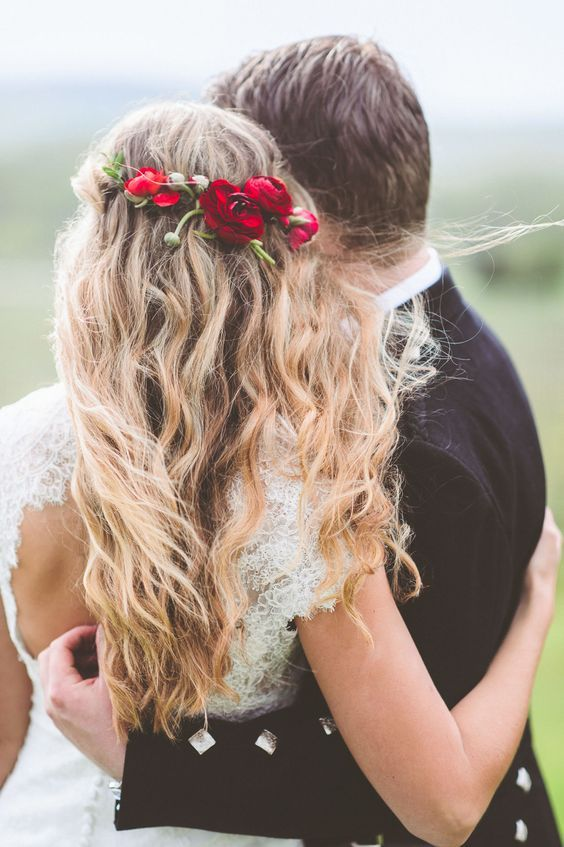 Best Hair Style For Bride Half Up Half Down Wedding Hairstyle With Red Flower Crown Www Deerpearlflow Youfashion Net Leading Fashion Lifestyle Magazine