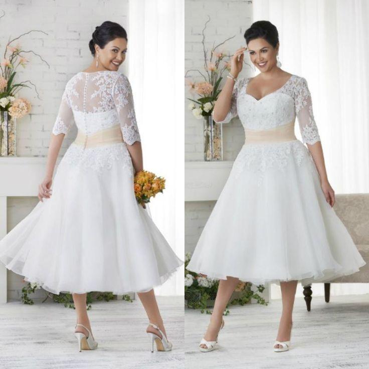 Short Wedding Dresses Elegant White Ivory Tea Length Applique