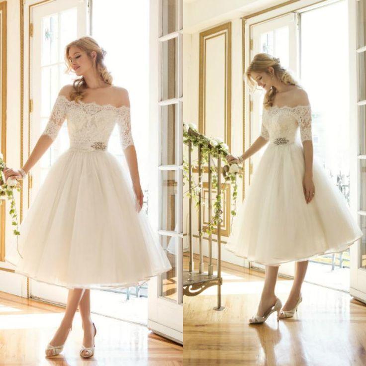 Modified A Line Wedding Dress Elegant Off The Shoulder Short Wedding ...