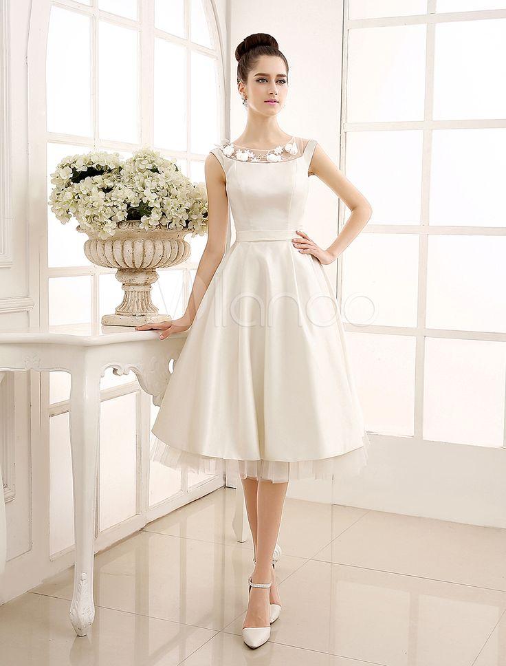 Short wedding dresses robe de mariage a ligne ivoire for Ligne de fleurs