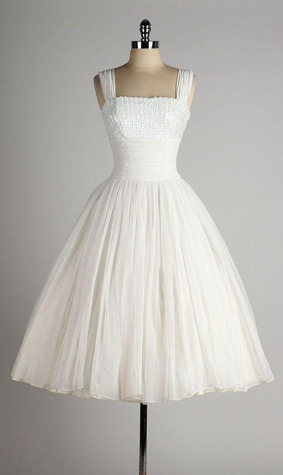Short Wedding Dresses Vintage 1950s Dress White Chiffon By