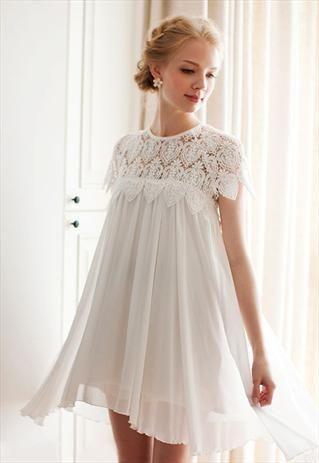 Short Wedding Dresses : WHITE EYELET LACE PLEATED BABYDOLL DRESS ...
