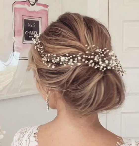 Wedding Hair With Flowers & jewels : Sleek low bun wedding hairstyle ...