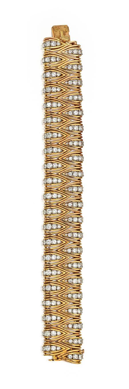 Diamond Bracelets : 18 KARAT TWO-COLOR GOLD AND DIAMOND BRACELET, CARTIER, PARIS. Of openwork design…