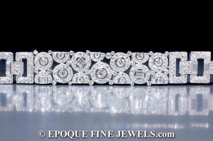 Diamond Bracelets : Cartier, A magnificent Art Deco diamond bracelet