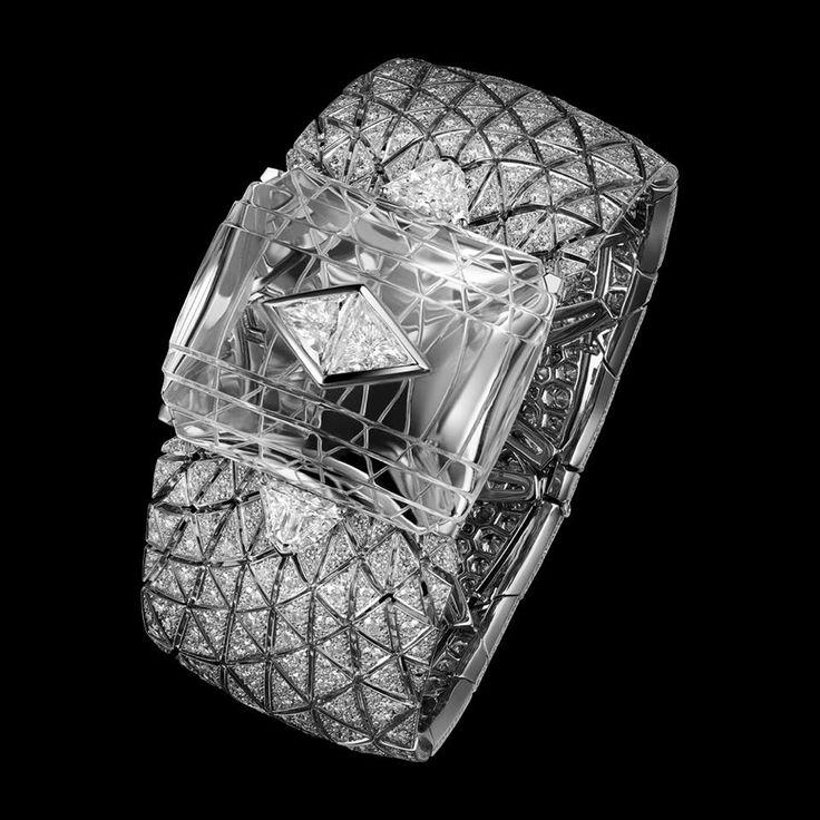"Diamond Bracelets : CARTIER. ""Romanov"" Bracelet – Platinum, carved rock Crystal motif, one…"