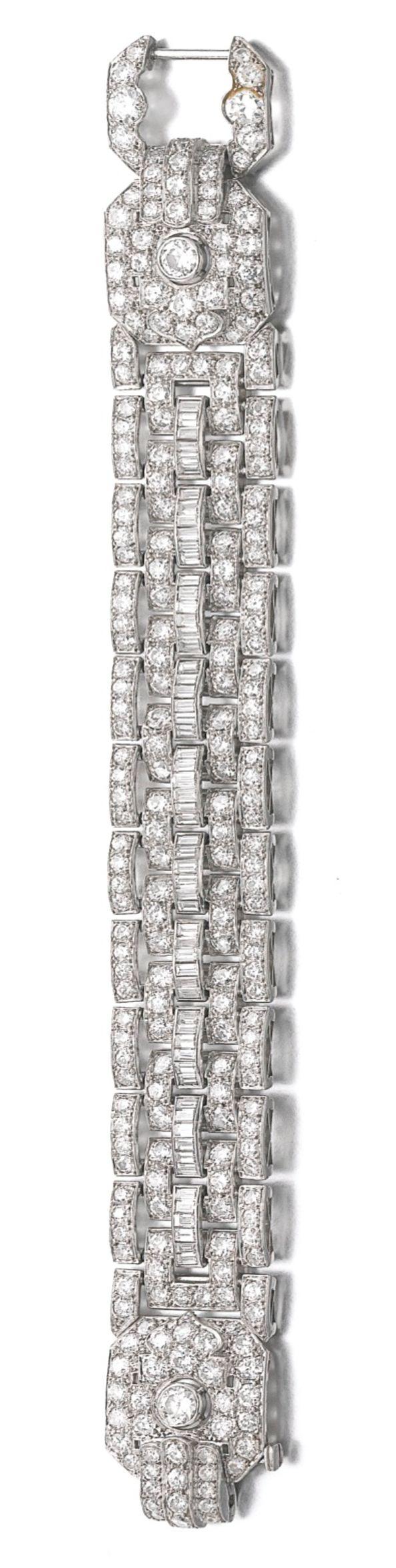 Diamond Bracelets : Diamond Bracelet, circa 1930s. The articulated band of brick links set w/ circul…