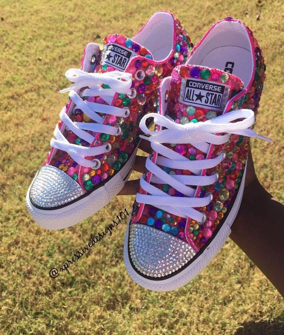 Custom low top bling converse Processing time is 3-4weeks These can be made in…
