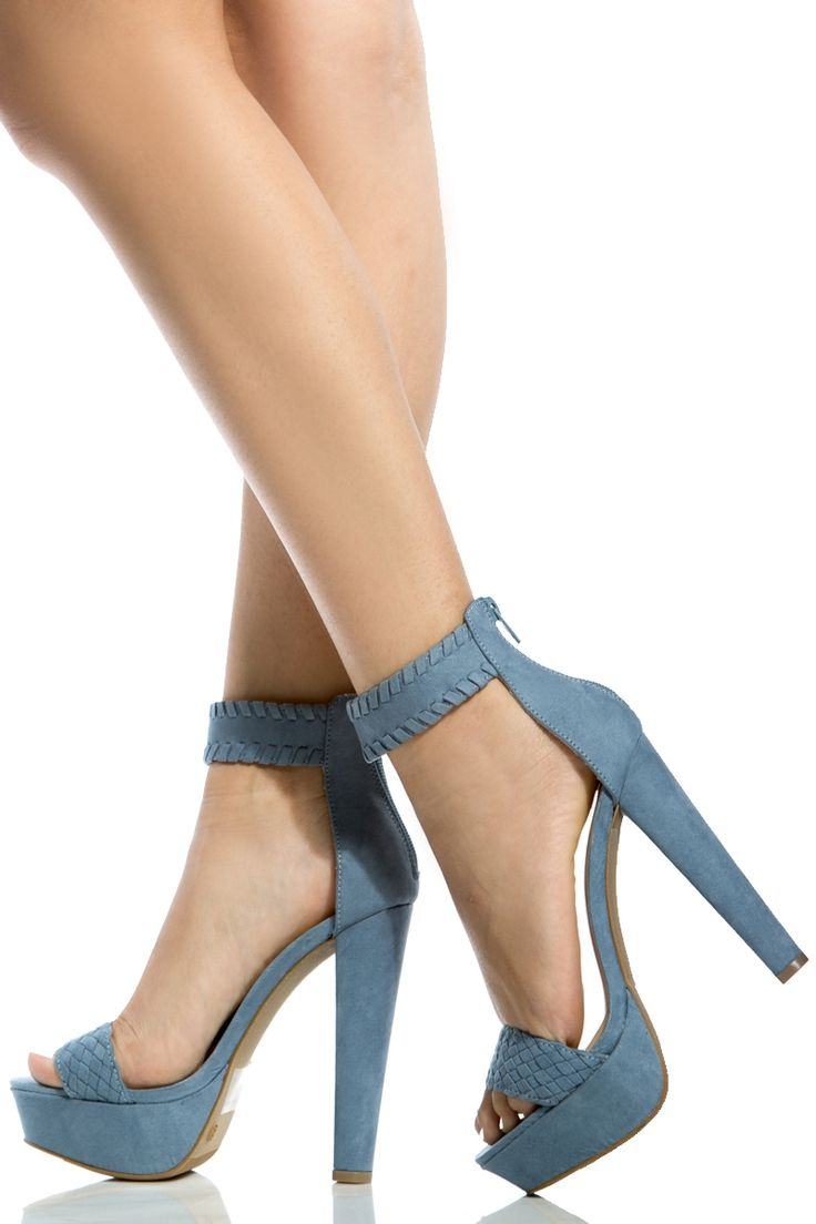 trendy women 39 s high heels blue faux suede ankle strap. Black Bedroom Furniture Sets. Home Design Ideas