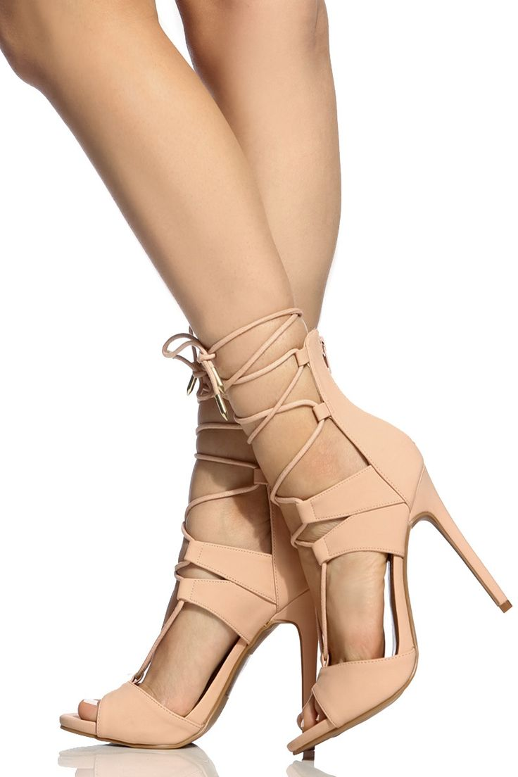 trendy s high heels blush faux nubuck lace up