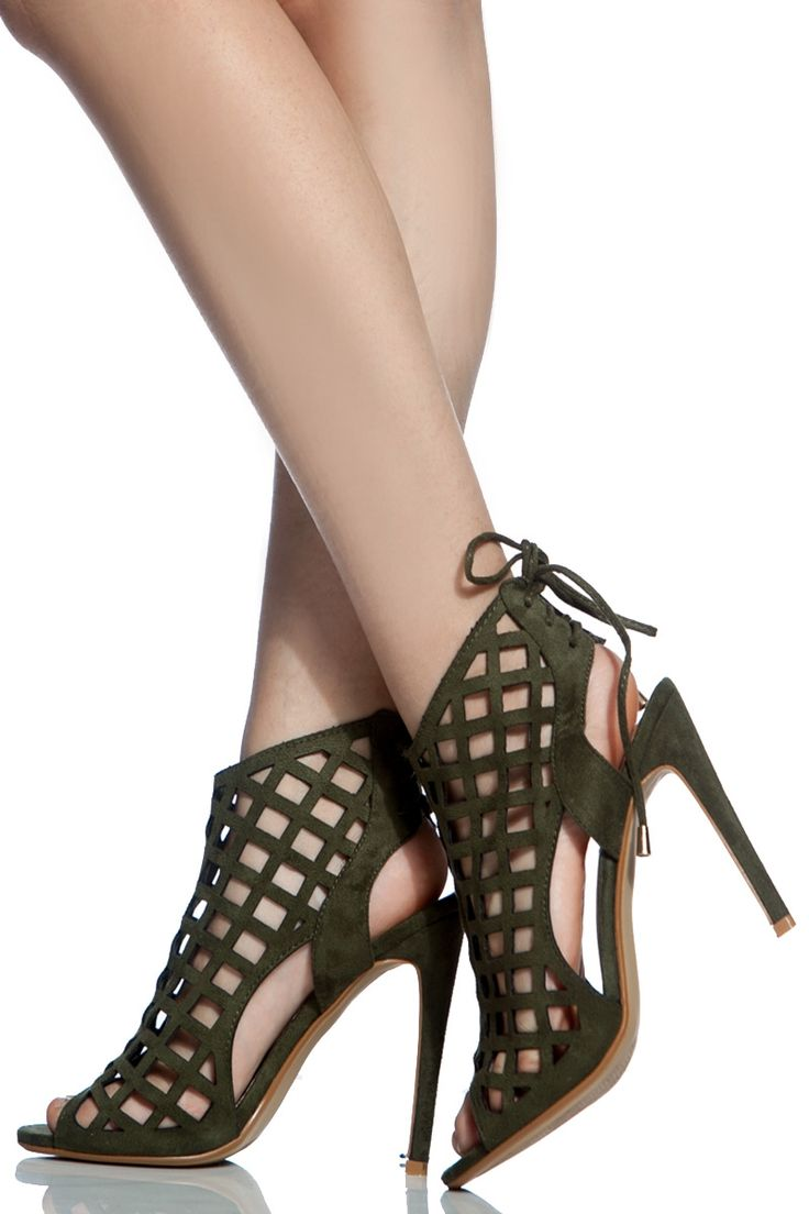 trendy s high heels olive faux suede cut out peep