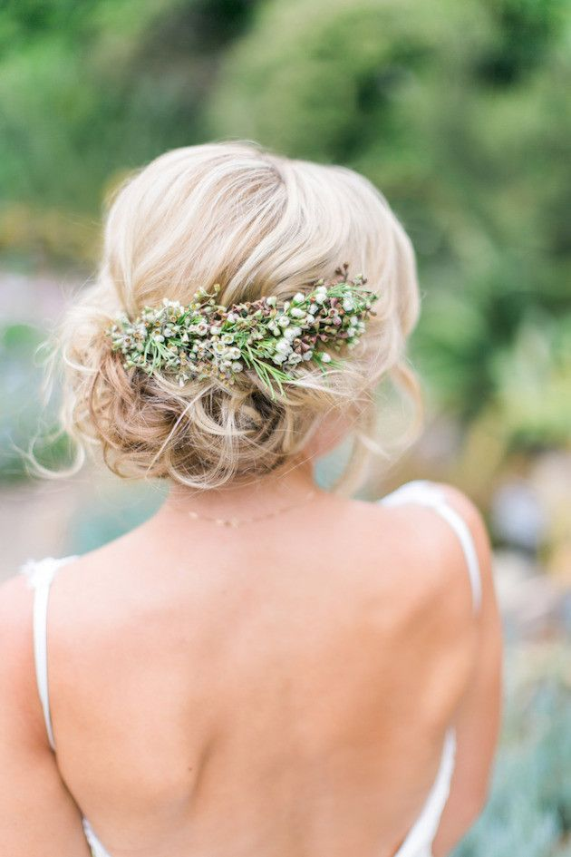 Wedding Hair With Flowers Jewels Low Bun Upstyle