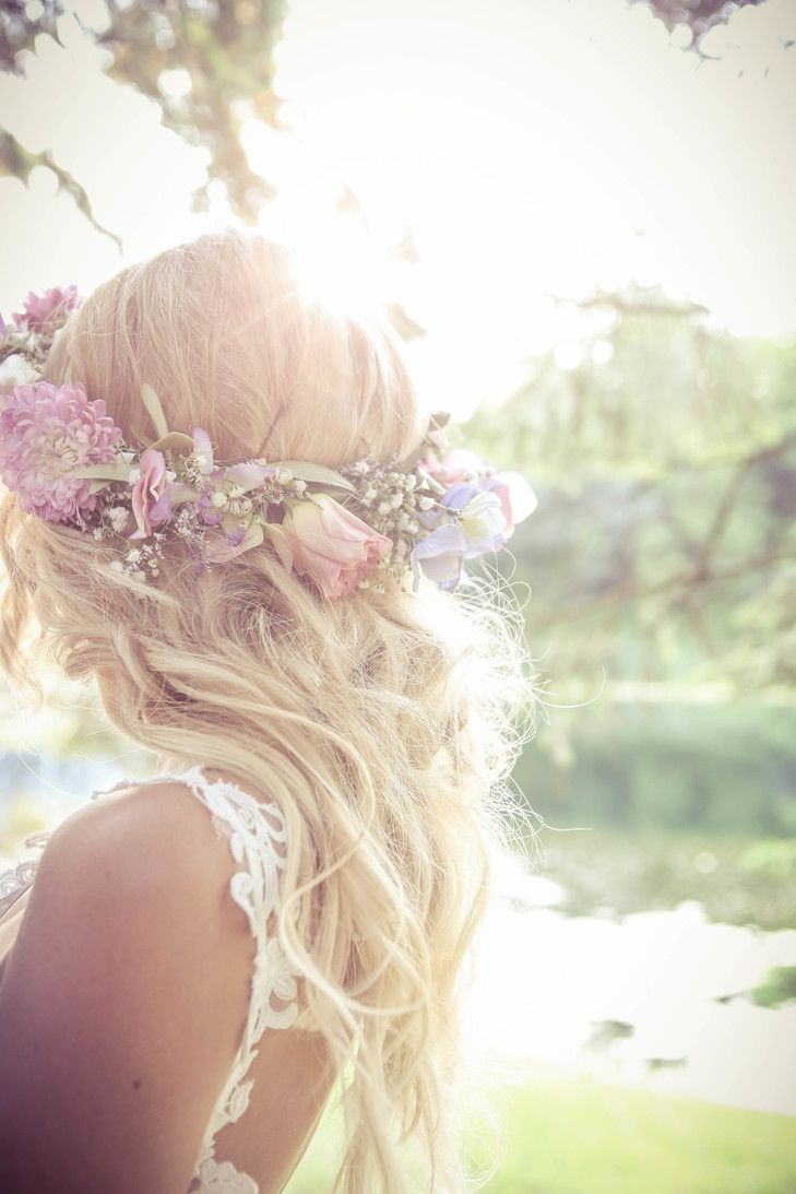 Wedding Hair With Flowers Jewels Rose And Babys Breath Flower
