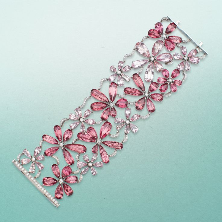 Best Diamond Bracelets Pink tourmaline morganite and diamond