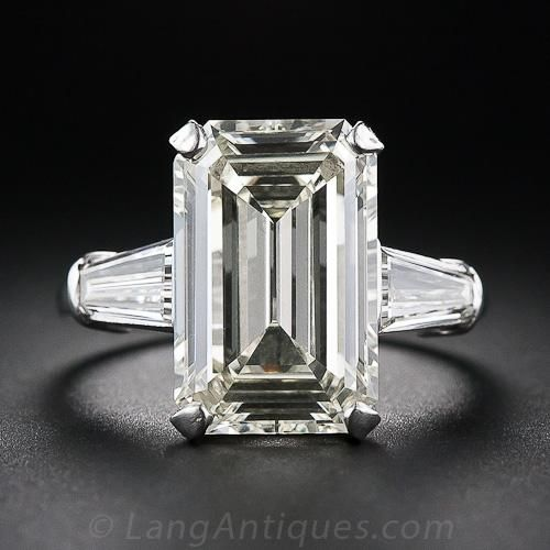 Diamond Rings 7 48 Carat Emerald Cut Diamond Ring 10 3 5859 Lang Antiqu