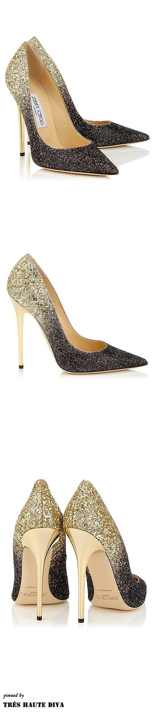 Best Women's High Heels : jimmy cho black gold glitter stilletto pointy heels