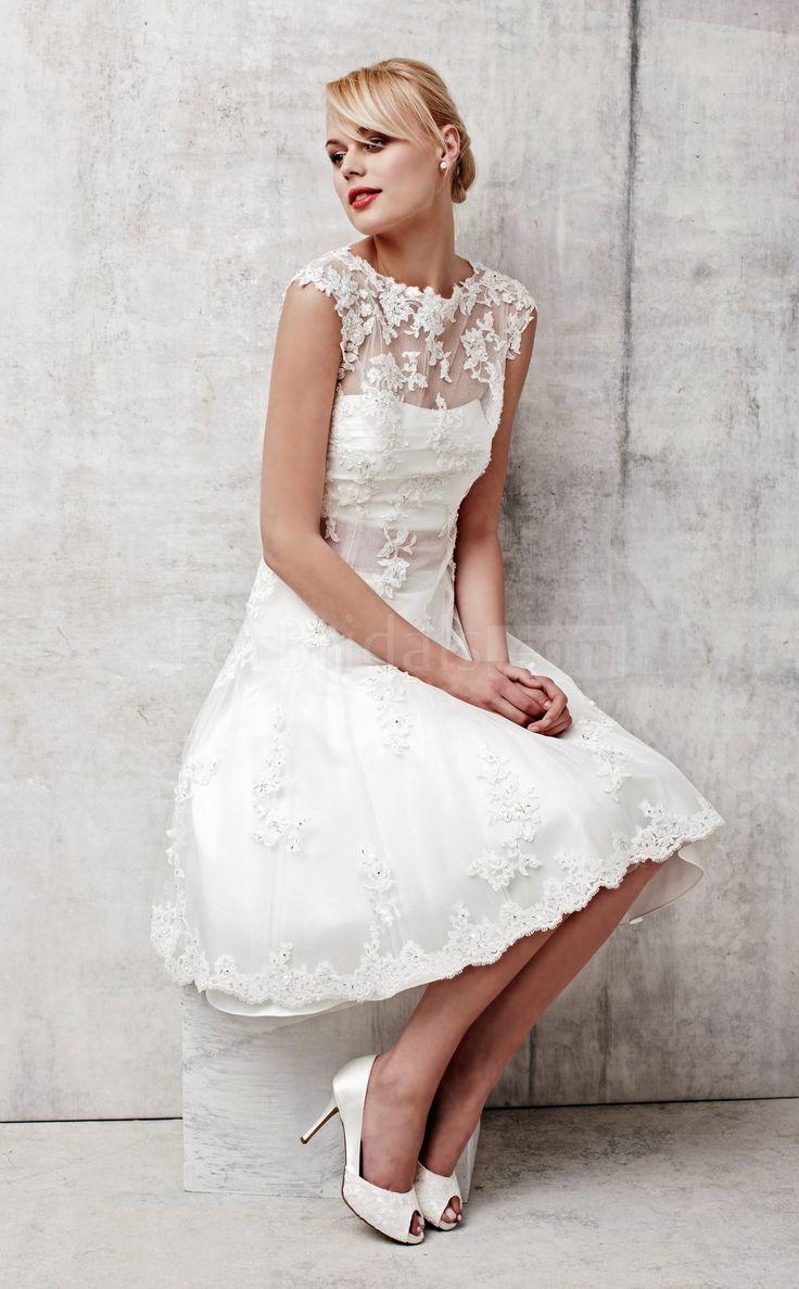 Short Wedding Dresses : A-line Jewel Short Sleeve Zipper Tea Length ...