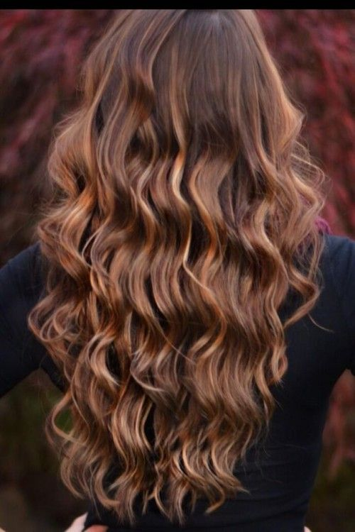 Trendy Hair Style Dark Brown Hair With Caramel Highlights