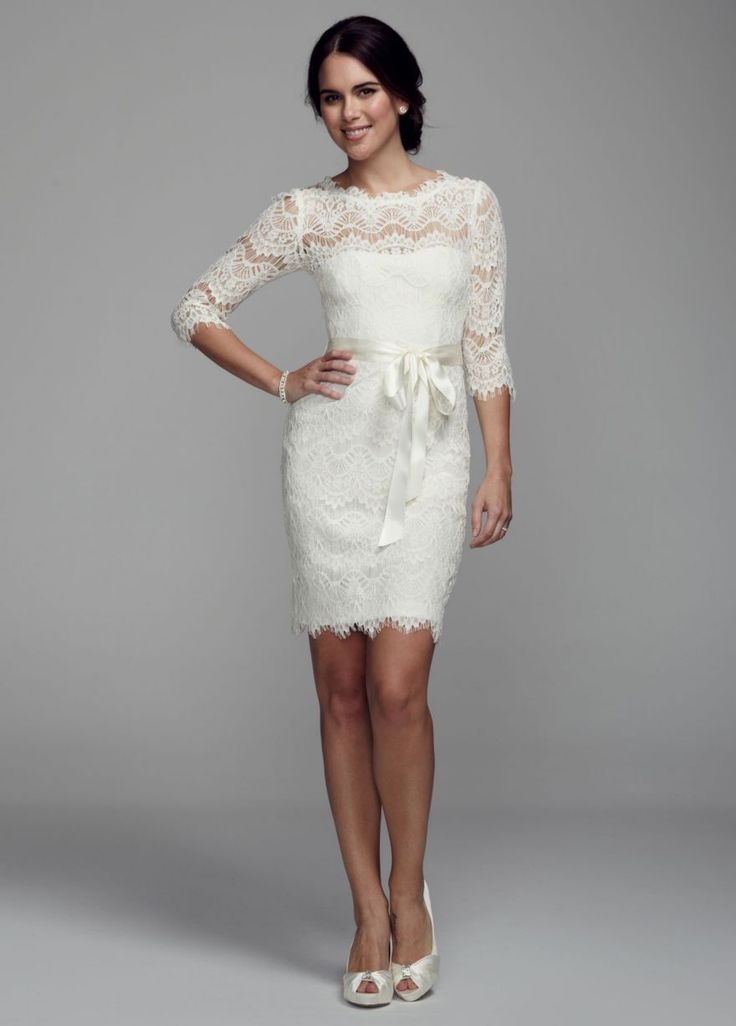 Short Wedding Dresses Short Lace Dress With 3 4 Sleeves David S Bridal Youfashion Net Leading Fashion Lifestyle Magazine