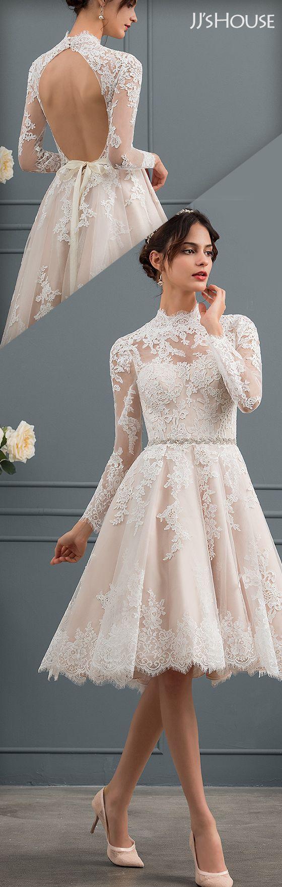 Short Wedding Dresses  High Neck Knee Length Lace Wedding Dress ...