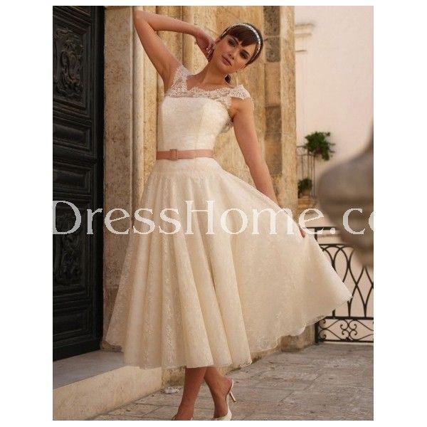 Short Wedding Dresses Irish Pink Belted Tea Length Lace Wedding
