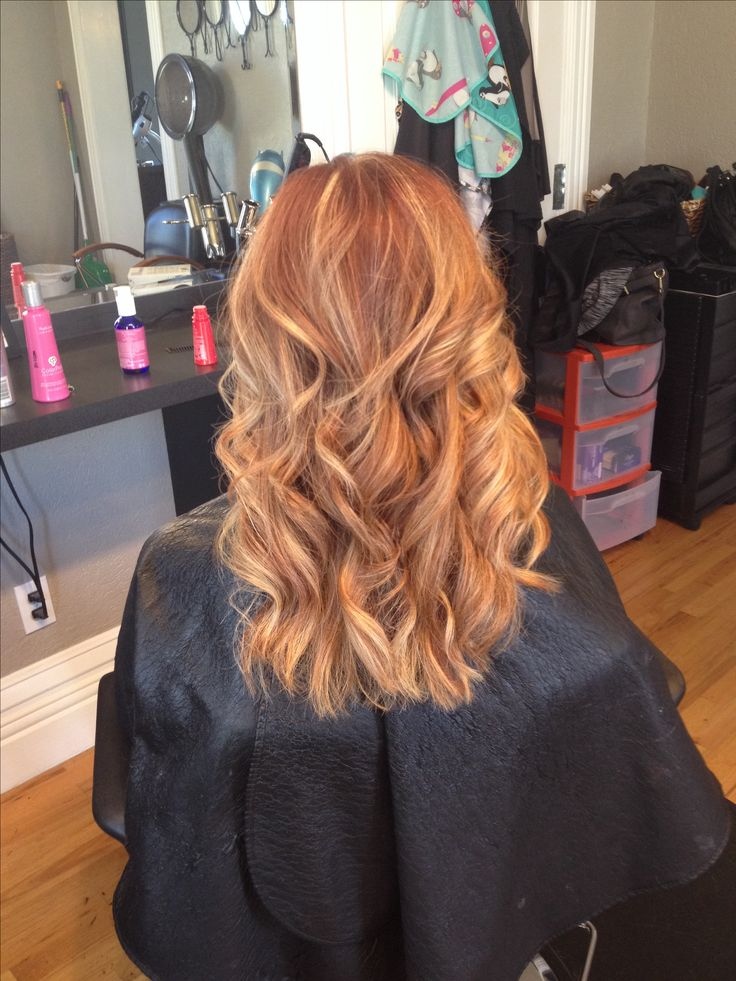 Trendy Hair Style Soft Blonde Highlights On Natural Red Hair With