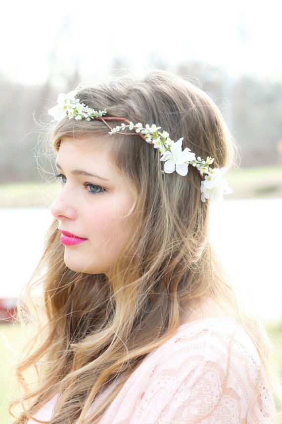 Wedding Hair With Flowers & jewels : Bridal flower hair, bridal flower crown, wedding headpiece, hair accessories, fl…