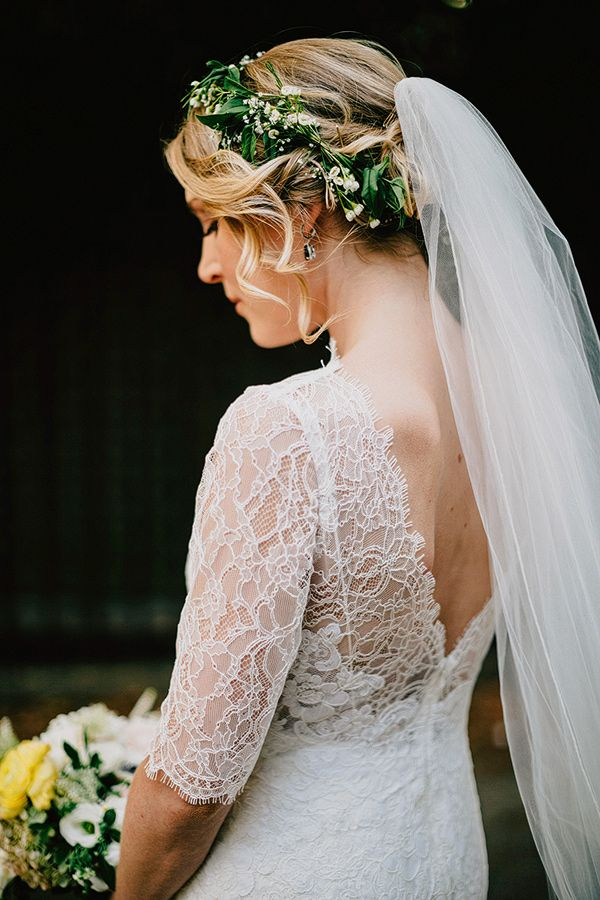 Wedding Hair With Flowers & jewels : Stylish lace sleeved wedding gown from Watters – 'Kerry'.