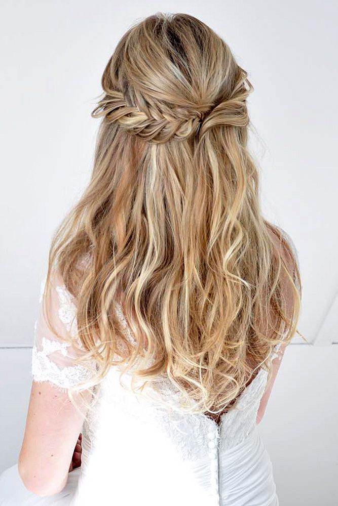 Best Hair Style For Bride   : unique wedding hairstyles stunning half up haf down for long hair #weddings #wed…