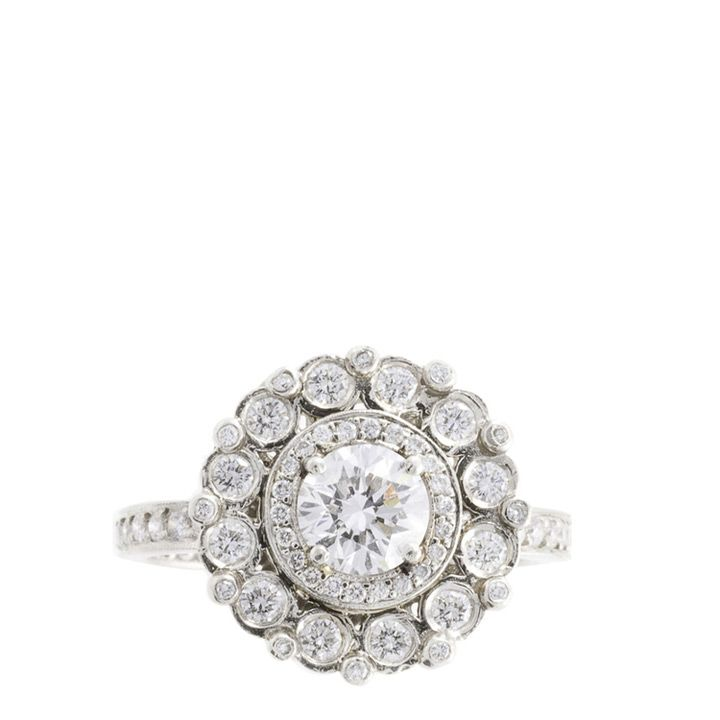 Engagement Rings & Wedding Rings : Charolette Ring ~ Platinum pave ring featuring a 1.00 ct. center diamond with 1….