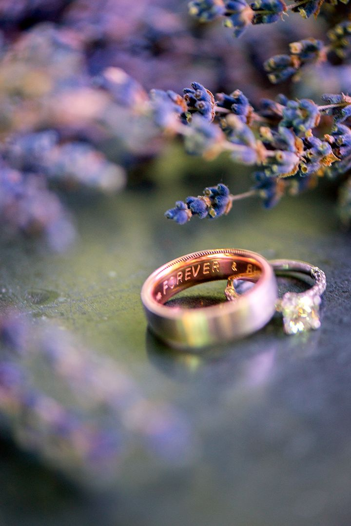 Engagement Rings & Wedding Rings : Cool ring shot with lavender; Stephani Elizabeth Photography