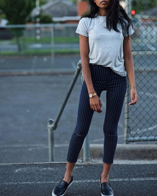 Street Style : For a fashionable alternative to jeans, wear pinstriped trousers…