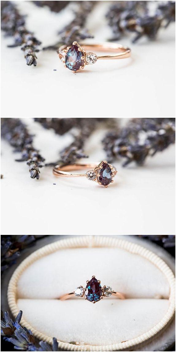 Luxury Jewelry  2017/2018 : sapphire three stone engagement ring, pear engagement ring, three stone ring, ro…