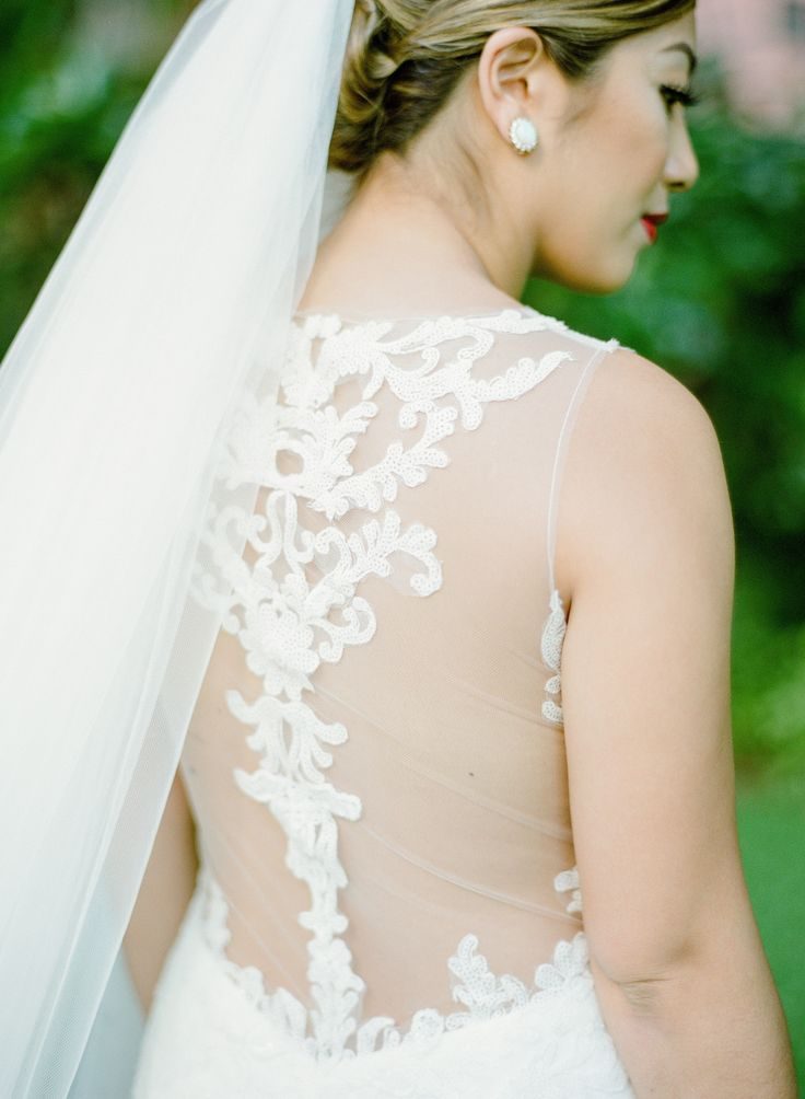 Beautiful Brand Wedding Dresses  : Illusion back embroidered wedding dress  | Photography: Aria Studios