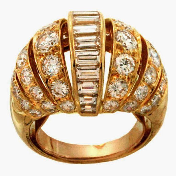 Diamond Rings : Cartier turban diamond and gold ring ladyvivianajewelryguru