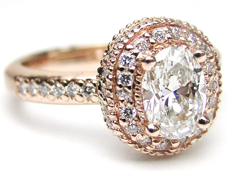 Diamond Rings : Oval Diamond Engagement Ring with double halo and diamond band in 14K Pink Gold …