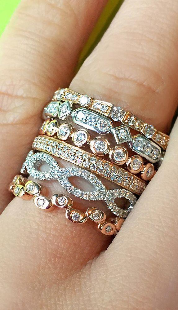 Diamond Rings : Thin diamond stacking rings