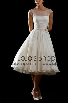 Short Wedding Dresses  : Retro Modest 50s 60s Short Tea Length Wedding Dress