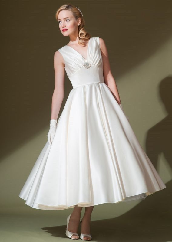 Short Wedding Dresses  : Retro satin wedding dress with ruched v neckline. This dress is made to order an…