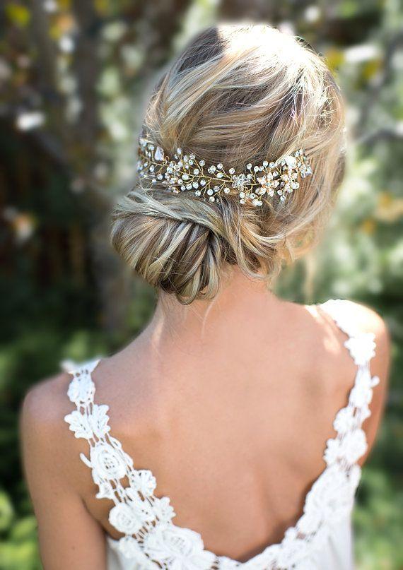 Wedding Hair With Flowers & jewels : Boho Gold Halo Flower Hair Crown, Gold or Silver Wire Hair Wreath, Boho forehead band, Hair Vine, Boho Wedding Headpiece – 'VIOLETTA' – Weddings and Events