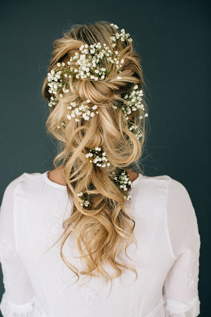 Wedding Hair With Flowers & jewels : Romantic Tousled Bridal Braid Adorned With Baby's Breath – Mon Cheri Bridals